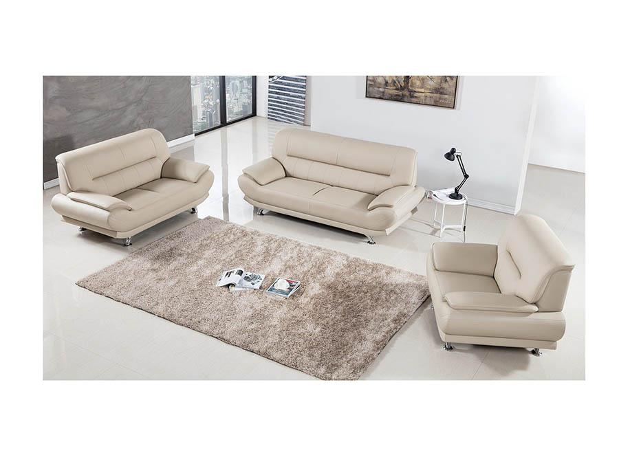 Sensational Modern 3Pcs Cream Leather Sofa Loveseat Chair Interior Design Ideas Skatsoteloinfo
