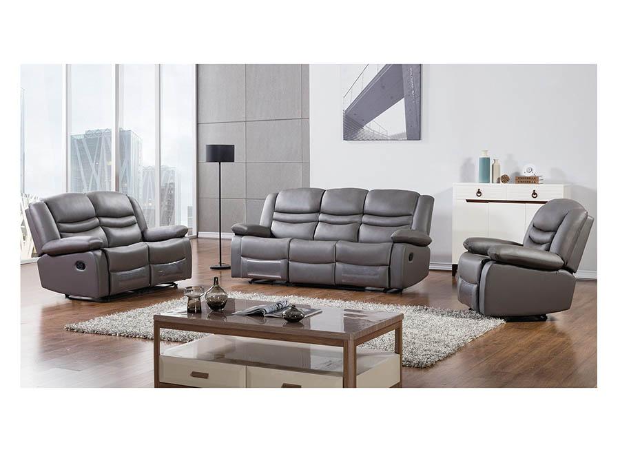 Modern 3pcs Dark Grey Faux Leather Sofa Loveseat Chair