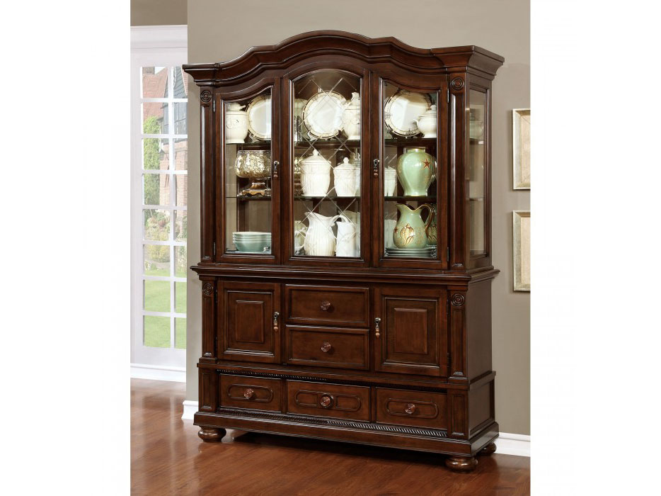 Alpena Traditional Brown Cherry Finish Hutch Buffet