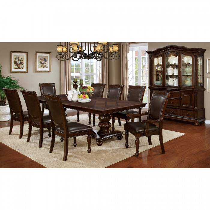 Alpena Traditional Brown Cherry Double Pedestal Dining Set