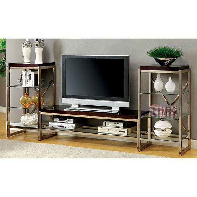 Brisa Contemporary Champagne Metal Tv Console