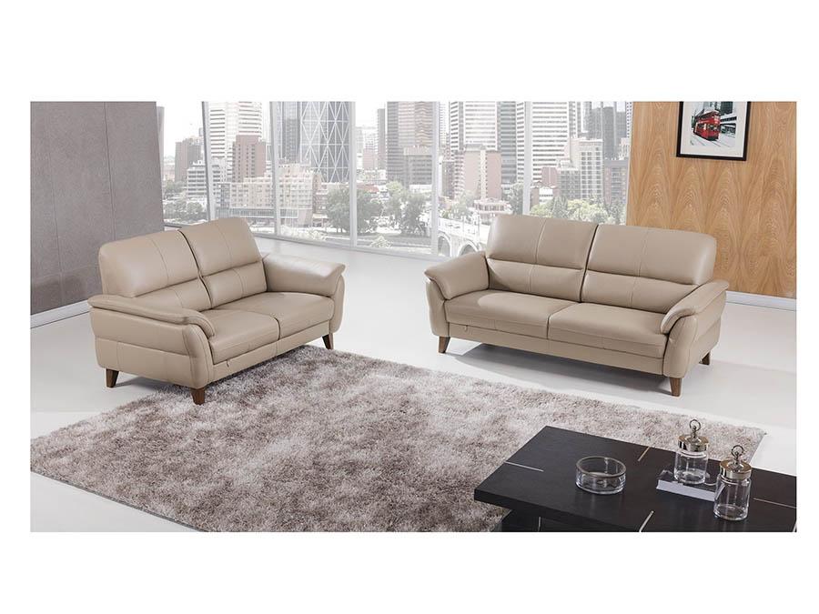 Modern 2Pcs Tan Italian Leather Sofa+Loveseat - Shop for Affordable ...