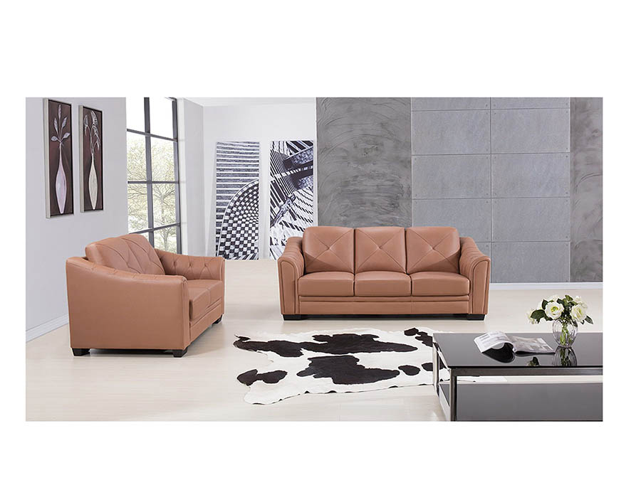 Modern 2Pcs Dark Tan Genuine Leather Sofa+Loveseat