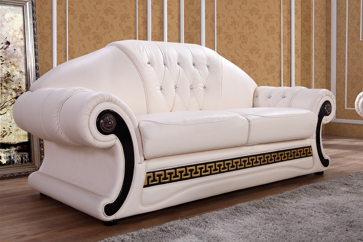 Delicieux Cream Leather Sofa Set