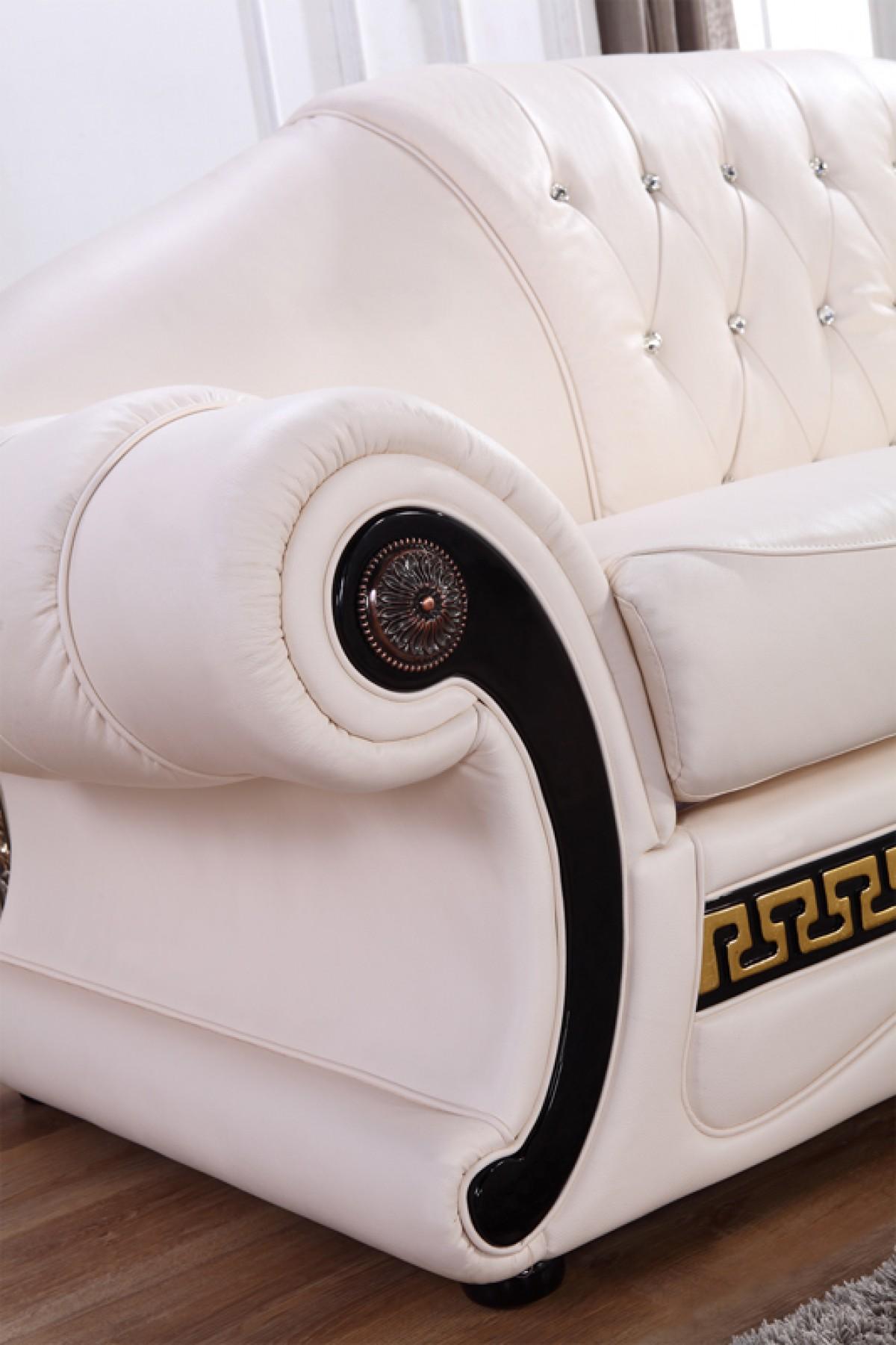 Classic Cream Leather Sofa Set