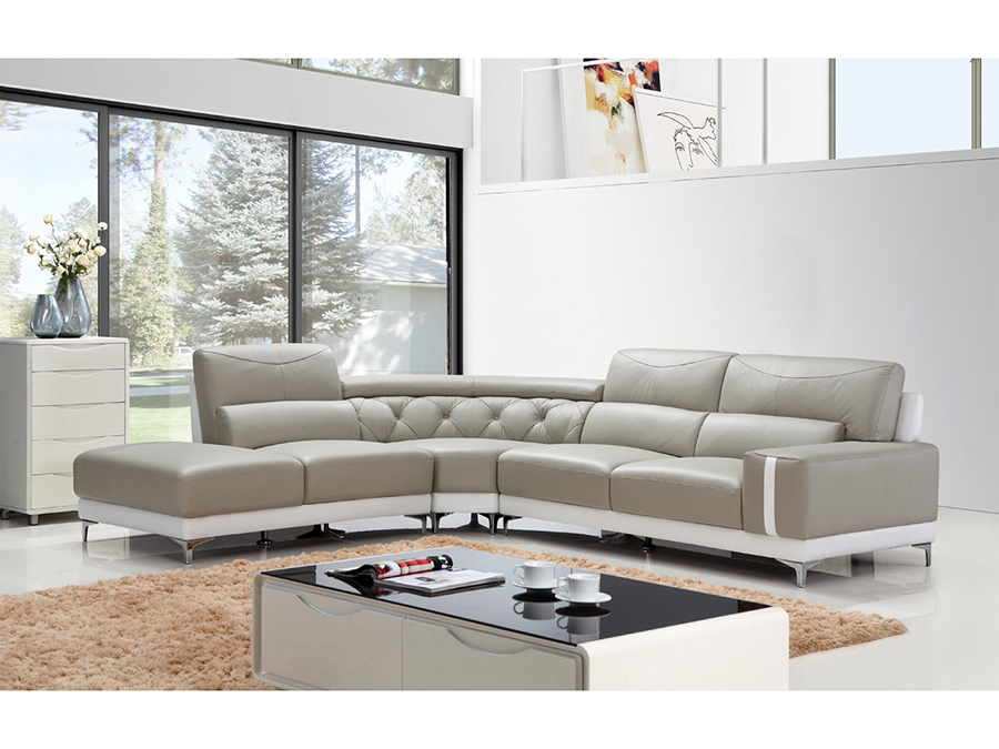 Modern Grey & White Leather Sectional Sofa