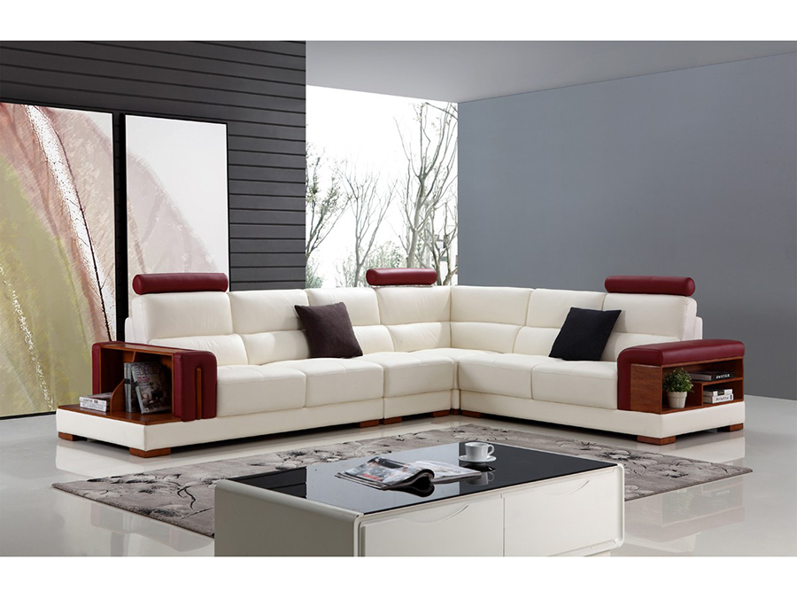White & Red Leather Sectional Sofa - Shop for Affordable Home ...