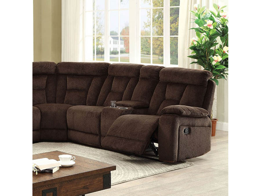 Maybell Brown Fabric Sectional Sofa
