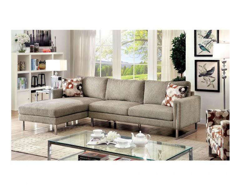 Lauren I Pewter Fabric Sectional Sofa