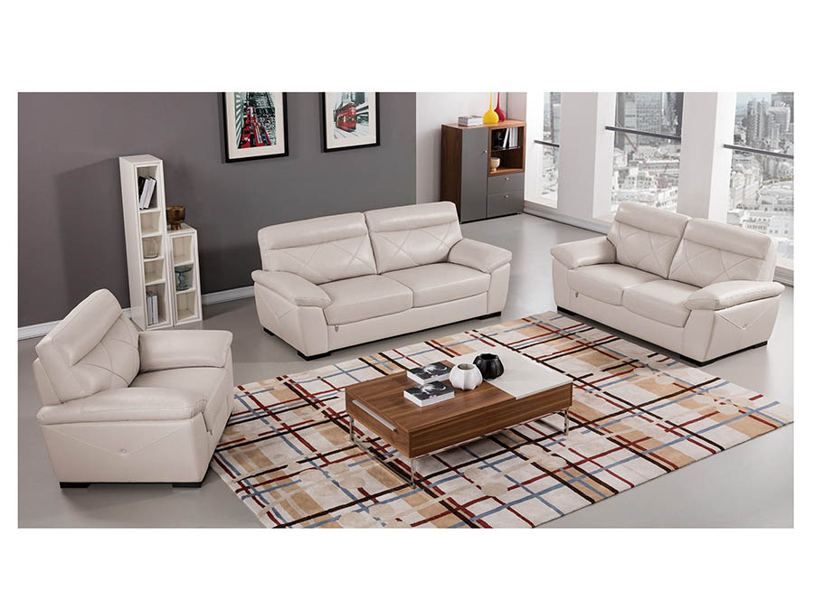 Modern 3Pcs Light Gray Leather Sofa+Loveseat+Chair