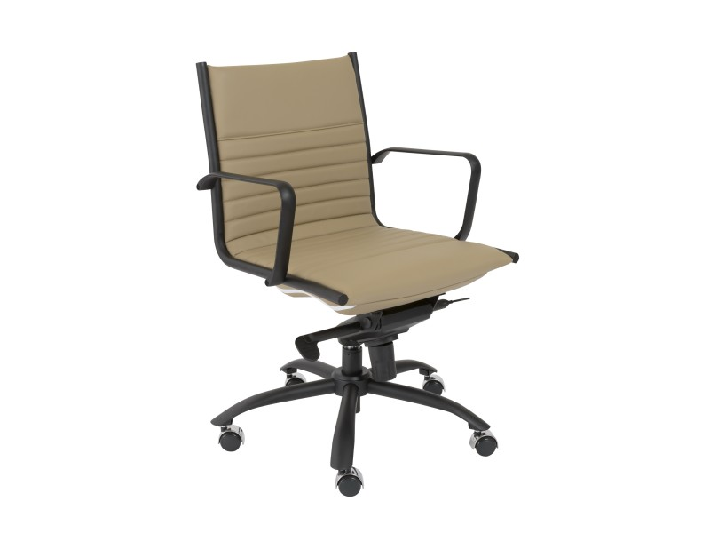 Dirk Powder Coated Low Back Office Chair In Taupe