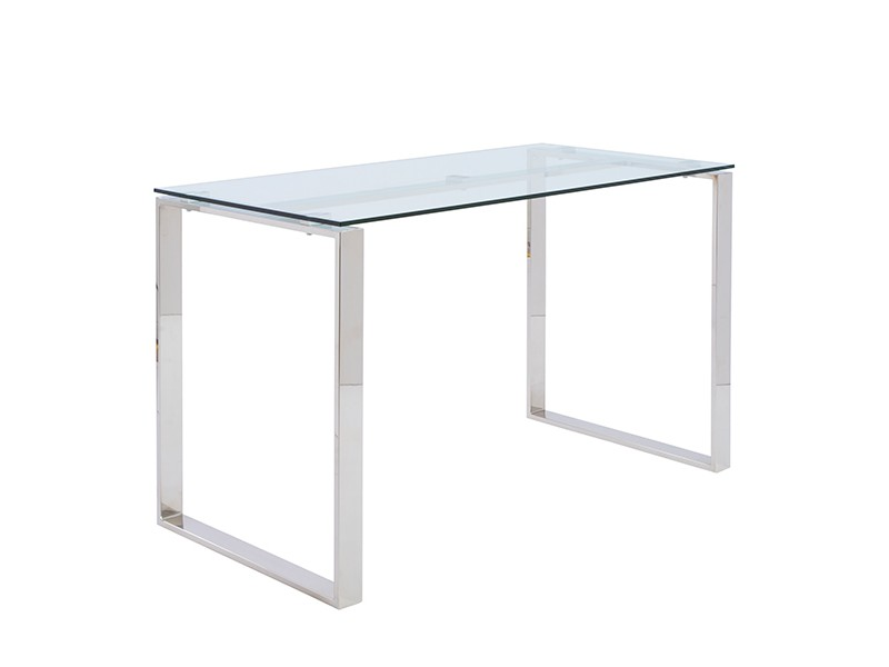 Go Desk In Clear Glass With Polished Stainless Steel Legs