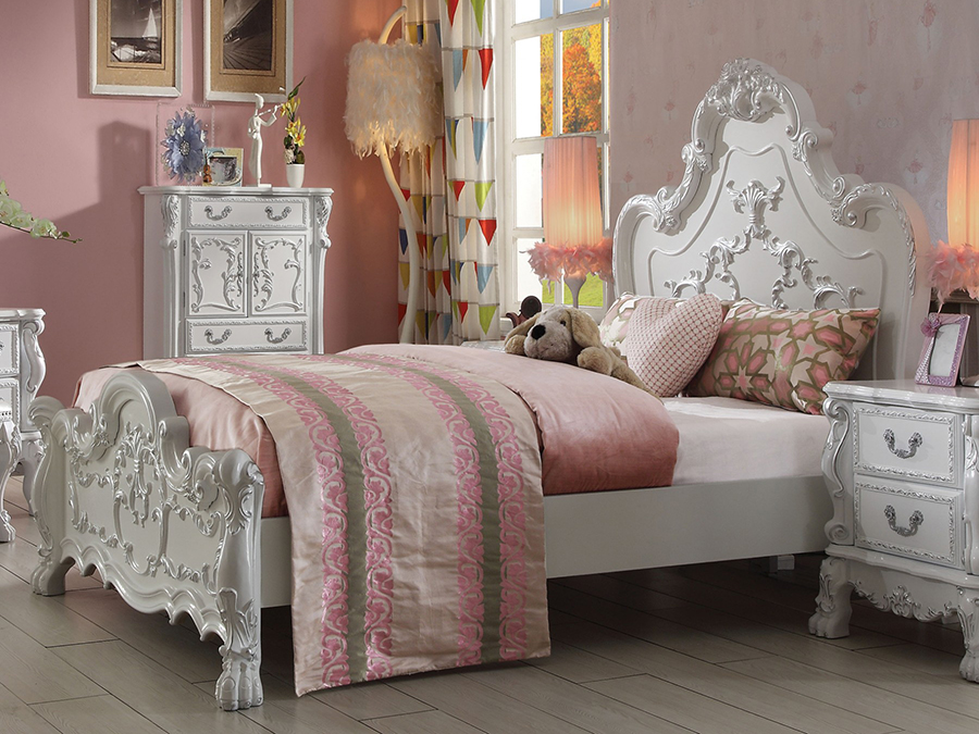 Dresden Antique White Sleigh Queen Bed   Shop for Affordable Home