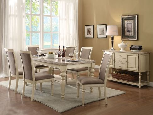 Ryder Antique White Marble Top Dining Table Set
