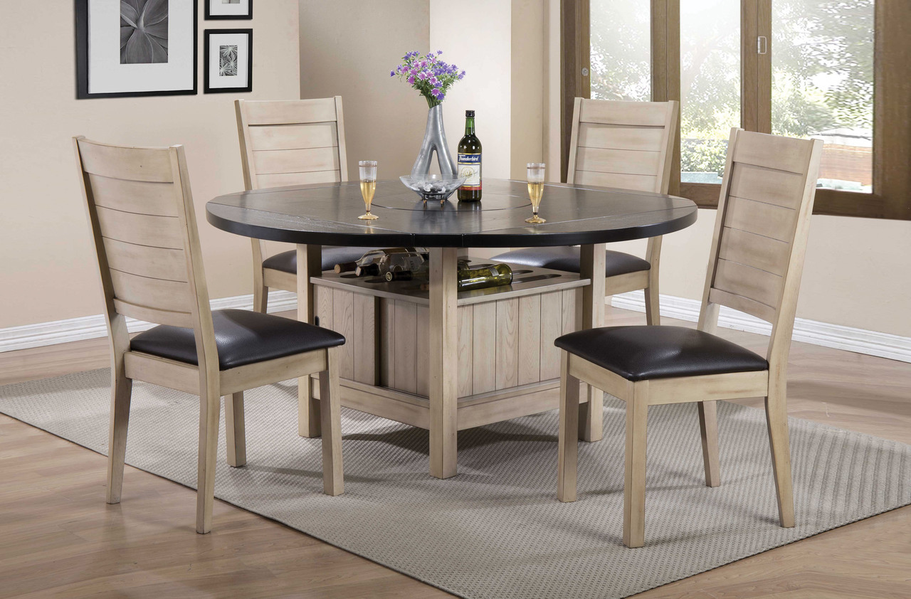 Ramona Dark Walnut Round Dining Table Set With Leaf