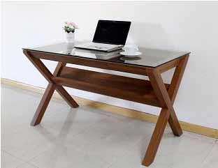 Light Walnut Clear Tempered Glass Top Writing Desk