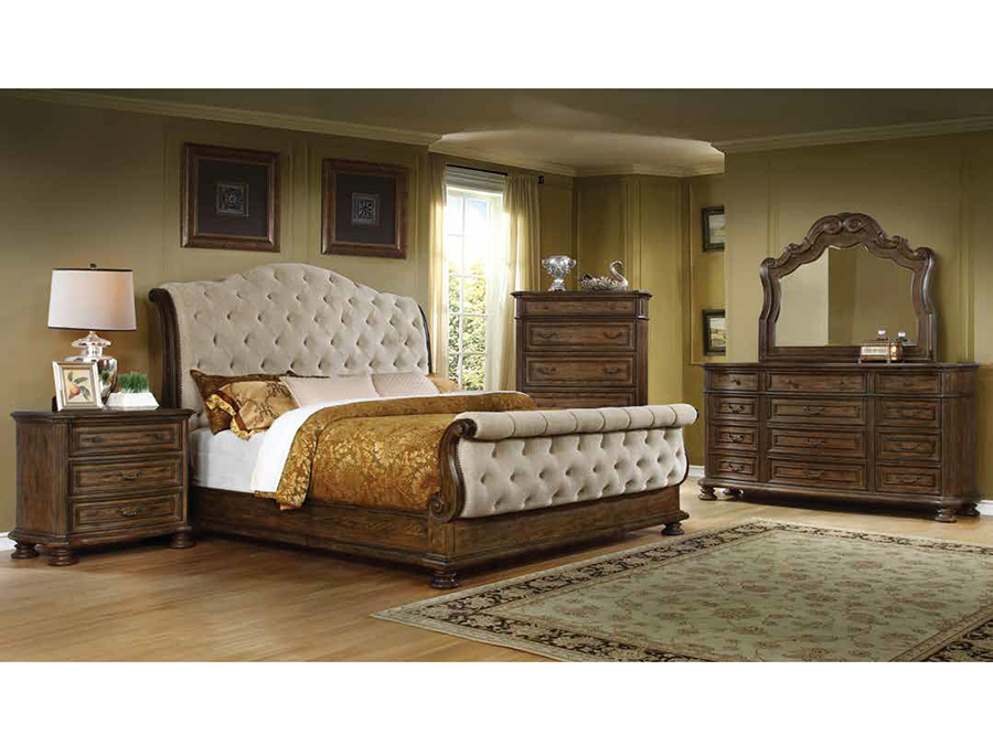 Alex Linen Tufted Sleigh Cal.King Bed