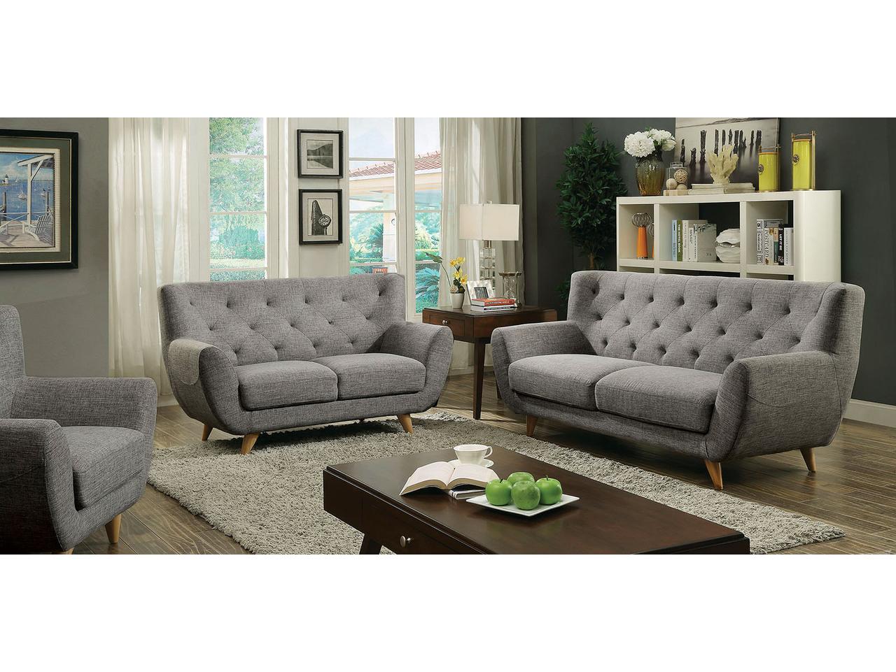 Carin Light Grey Sofa Set