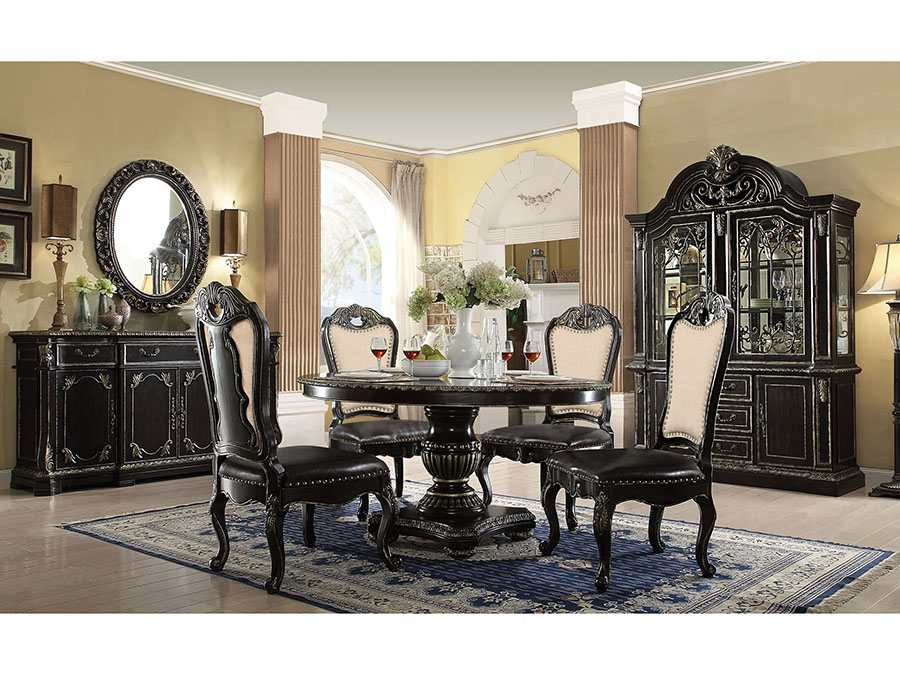 Round Dark Ebony Gold Gothic Dining Table Set