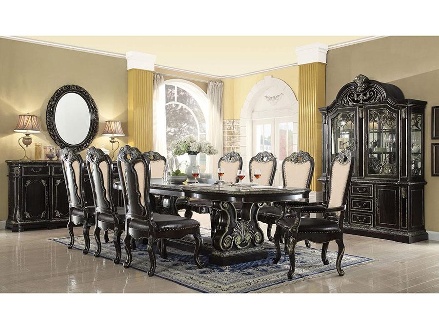 Ebony Black with Gold brush Dining Set - Muuduu Furniture - Outlet ...