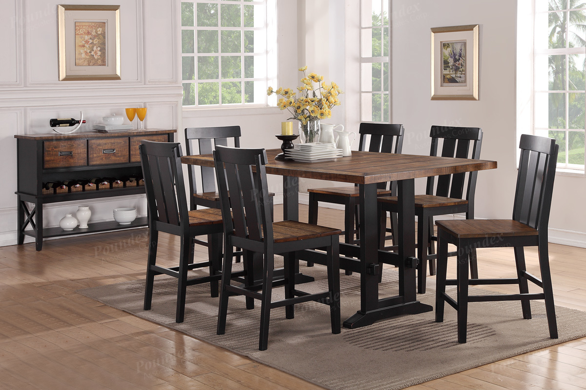 Rectangular Counter Height Dining Set In Antique Oak Black