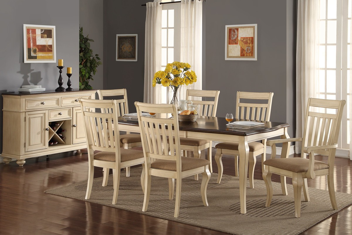 wood formal dining set in cream shop for affordable home furniture decor outdoors and more. Black Bedroom Furniture Sets. Home Design Ideas