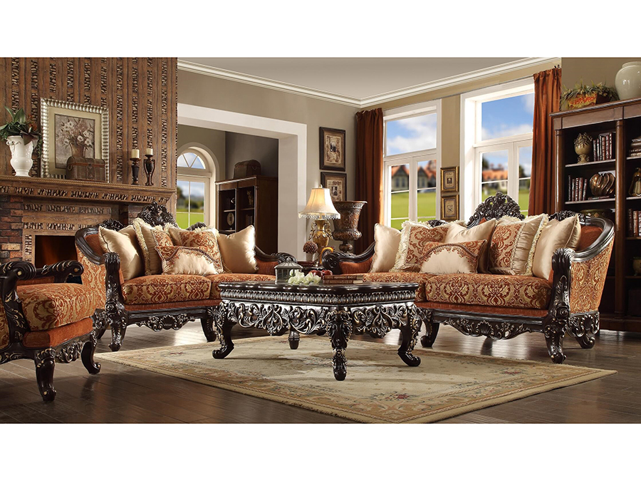sofa set in dark brown by homey design - Homey Design Upholstered