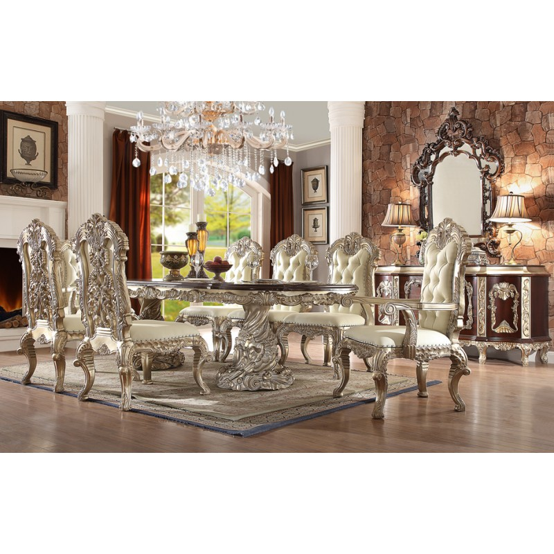 Dining Set In Antique White Silver Dining
