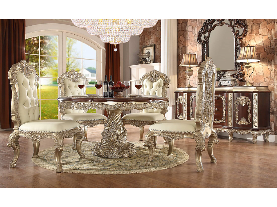 Round Dining Set In Silver Tone White
