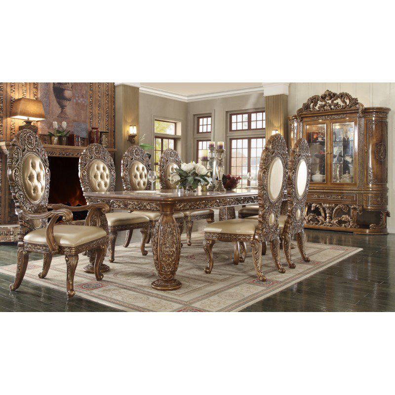 Traditional Wood Dining Set In Gold-Tone