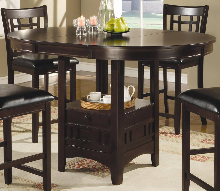 Espresso Counter Height Table Chair Set