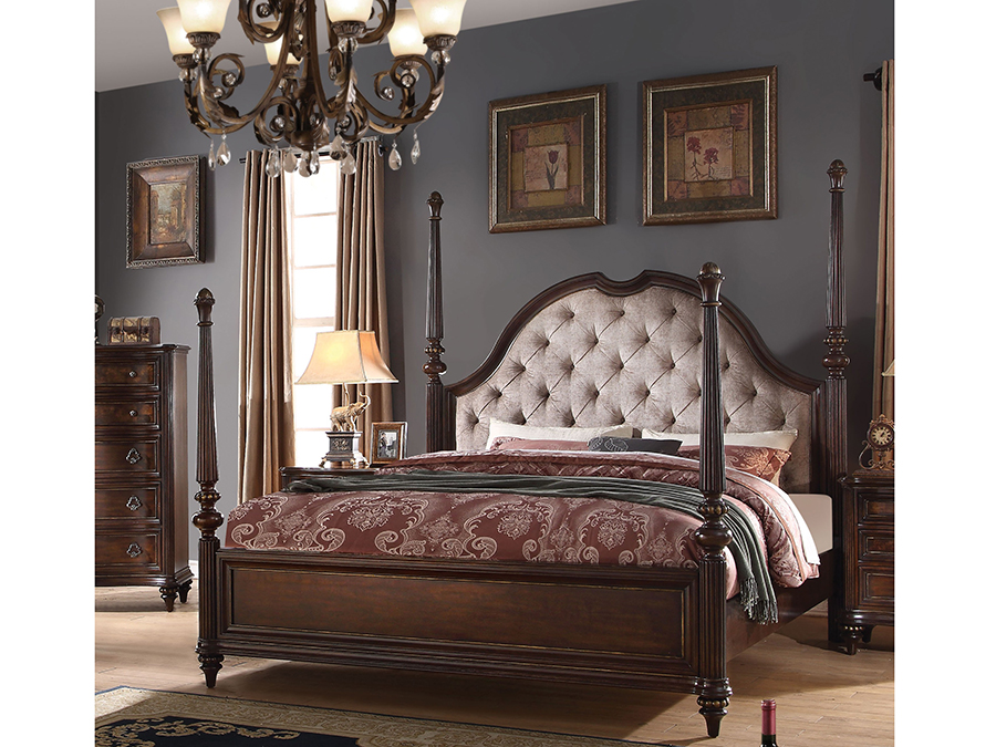 Azis Queen Poster Bed in Dark Walnut - Shop for Affordable Home ...