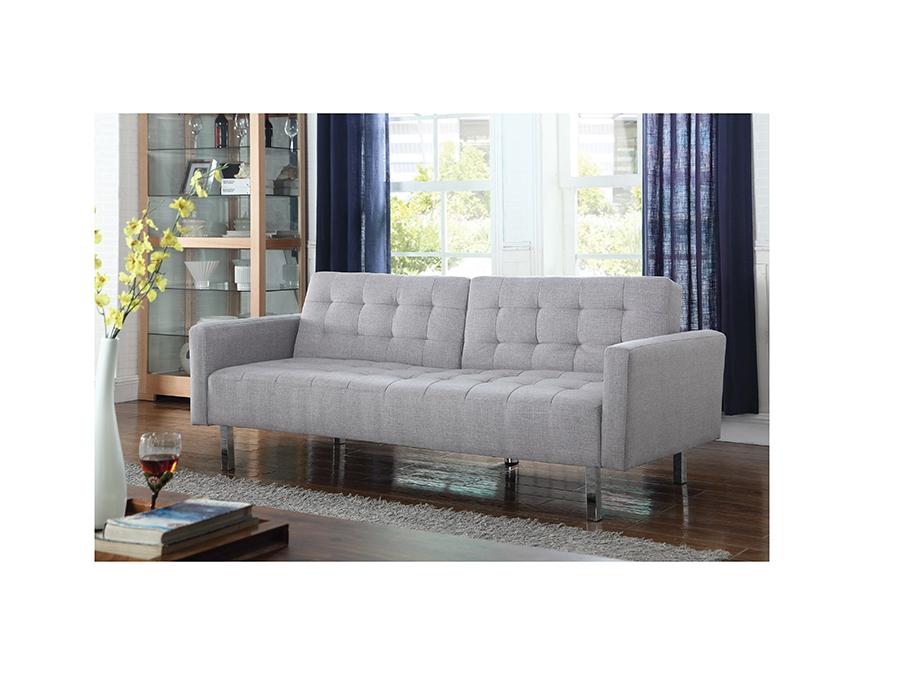 Light Grey Woven Fabric Sofa Bed