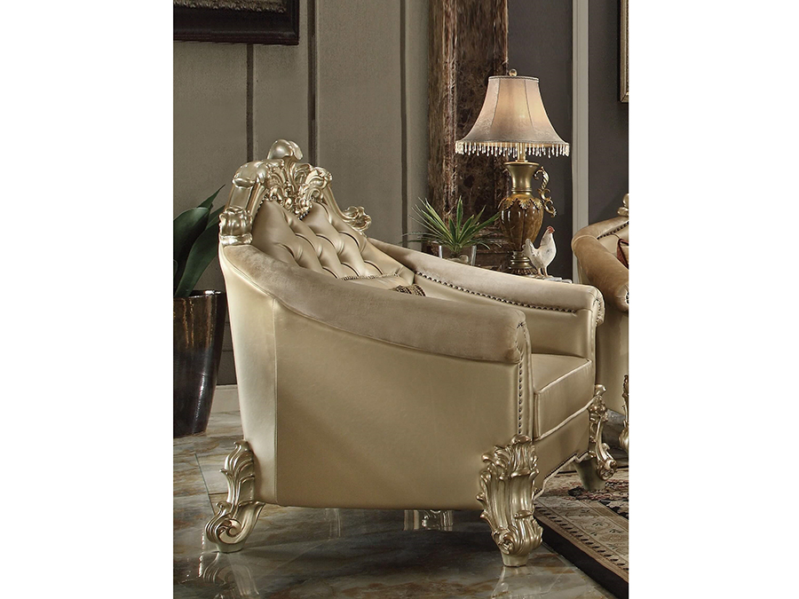 Vendome Gold Patina Bone PU Chair With Pillow U2014 Optional