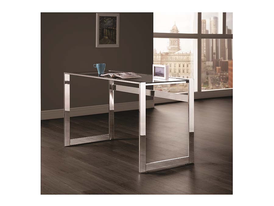 Chrome Clear Tempered Glass Top Writing Desk