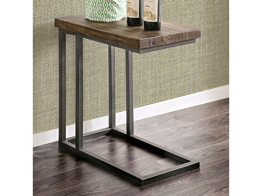 Zula Dark Oak Metal Side Table