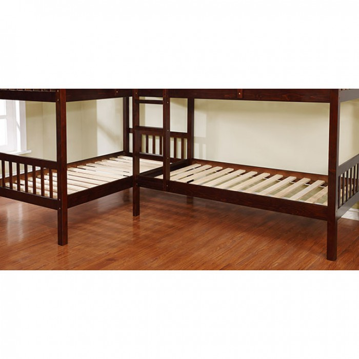 marquette l shaped quadruple twin bunk bed in dark walnut