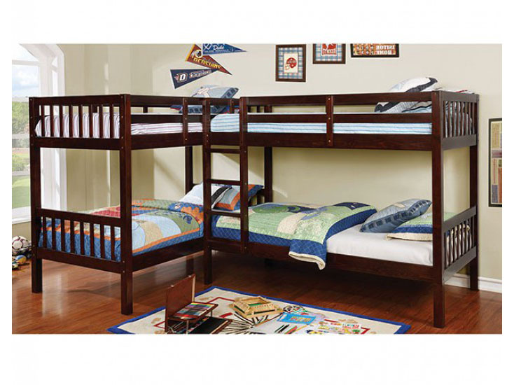 Marquette L Shaped Quadruple Twin Bunk Bed With Trundle