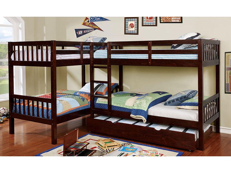 Marquette L Shaped Quadruple Twin Bunk Bed