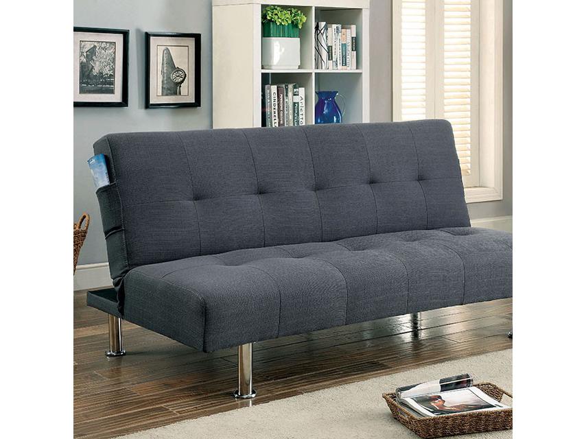 Dewey Contemporary Grey Flax Fabric Futon Sofa Bed