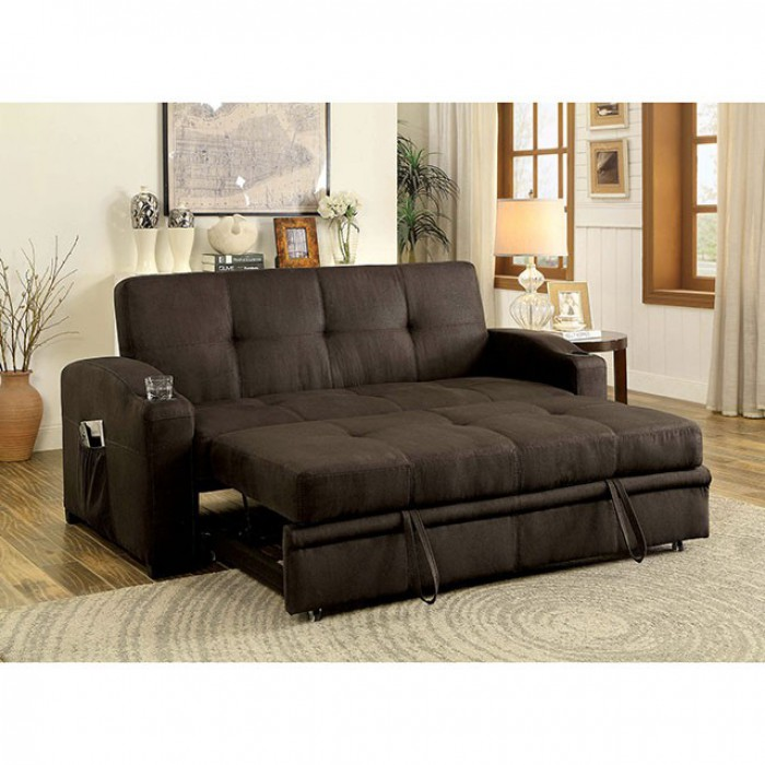 Merveilleux Mavis Dark Brown Futon Sofa