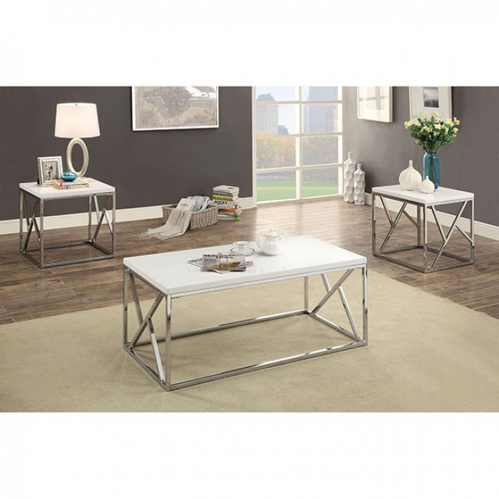 Kuzen 3 Pieces White Finish Coffee Table Set  sc 1 st  Muuduu Furniture & Kuzen 3 Pieces White Finish Coffee Table Set - Shop for Affordable ...