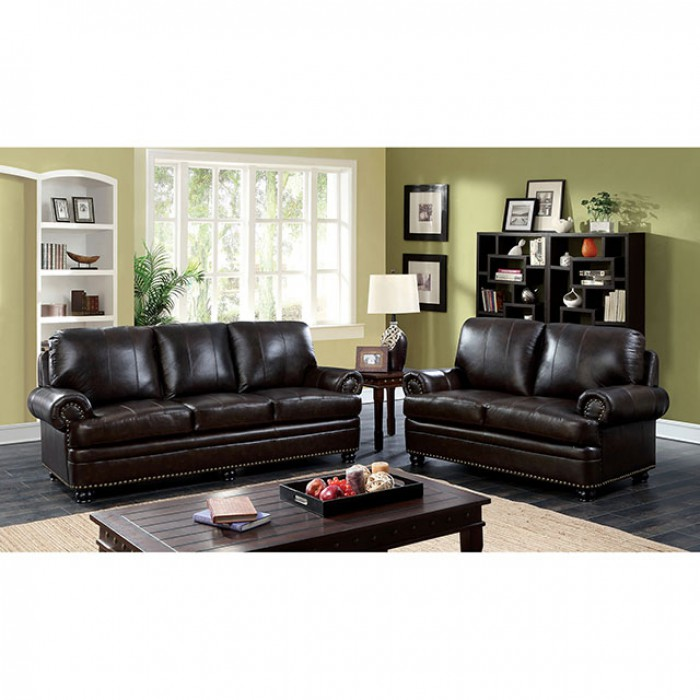 Reinhardt Dark Brown Sofa Set