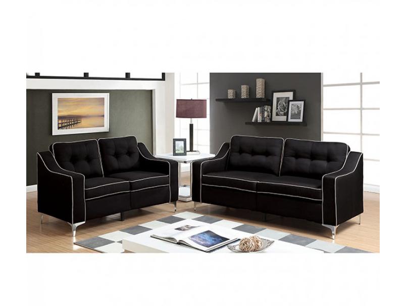 Glenda Black Sofa Set