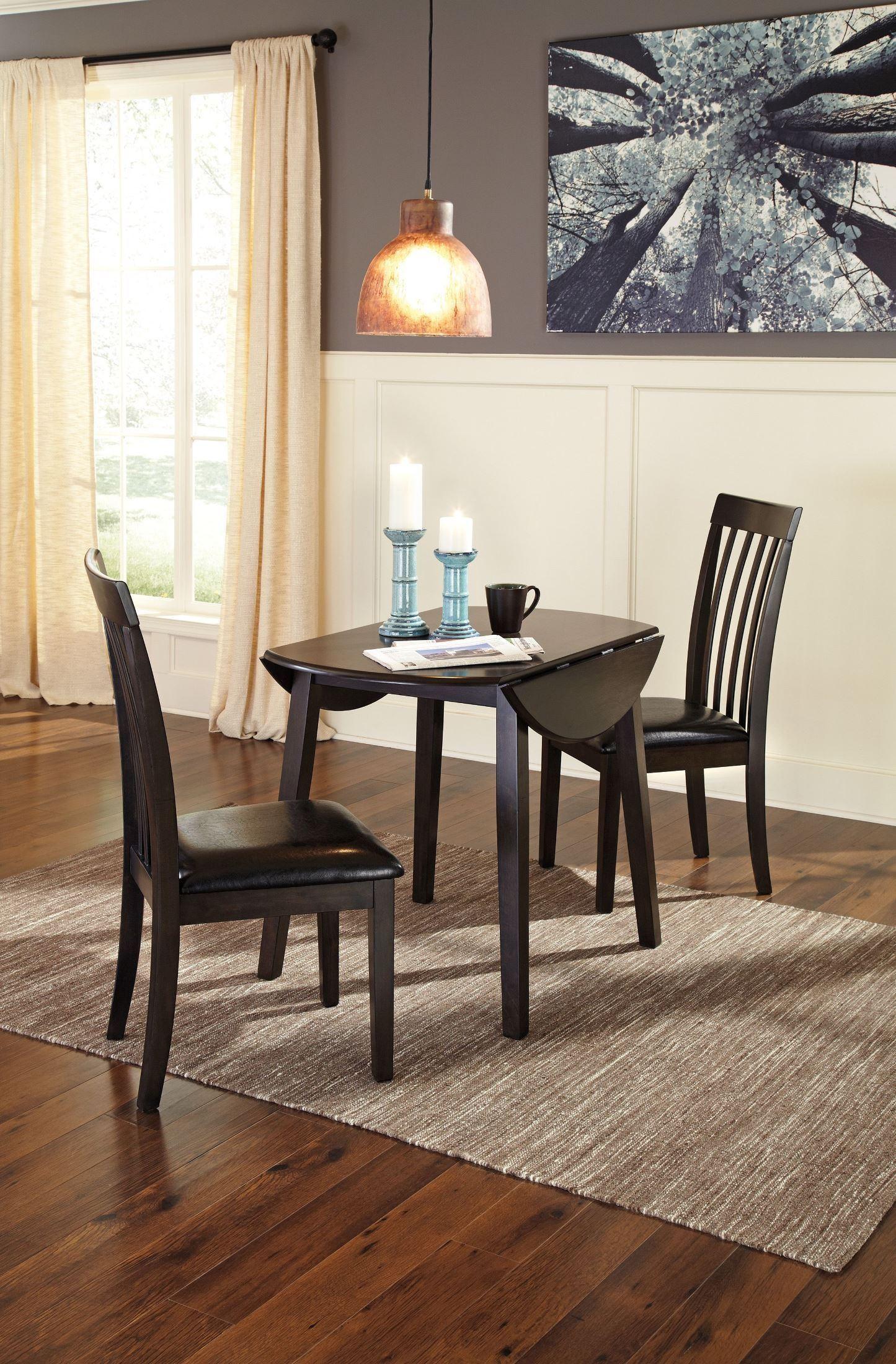 Hammis Round Dining Drop Leaf Table Set In Dark Brown