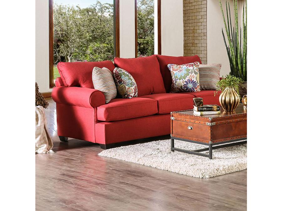 Delightful Rena Red Sofa
