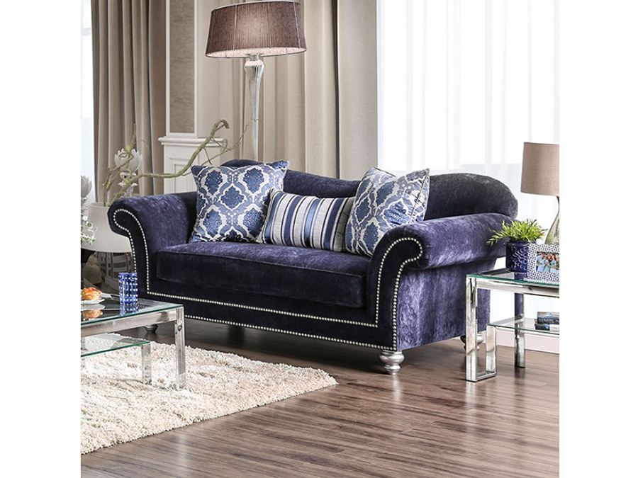 Navy microfiber sofa smileydotus for Navy blue microfiber sectional sofa