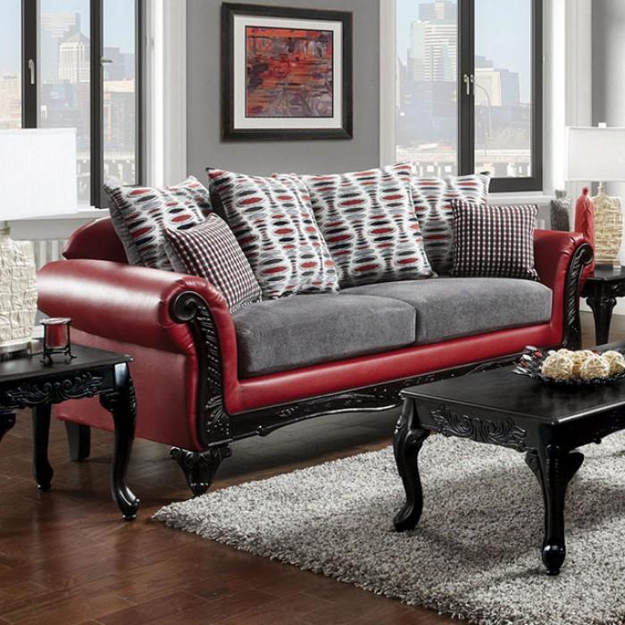 Myron Red Light Gray Sofa