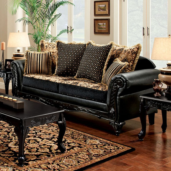 Theodora Black/Tan Sofa