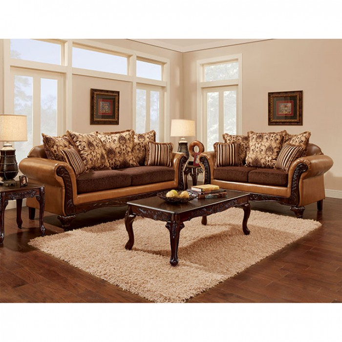 Isabella Camel Dark Brown Sofa Set